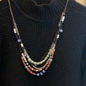glass bead layered necklace